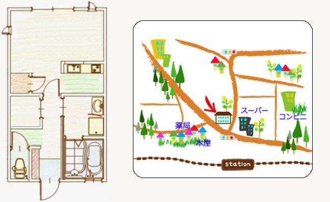 アパートの間取り図・ガイドマップ